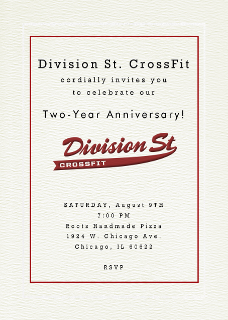 Division St. CrossFit Two-Year Anniversary Invitation