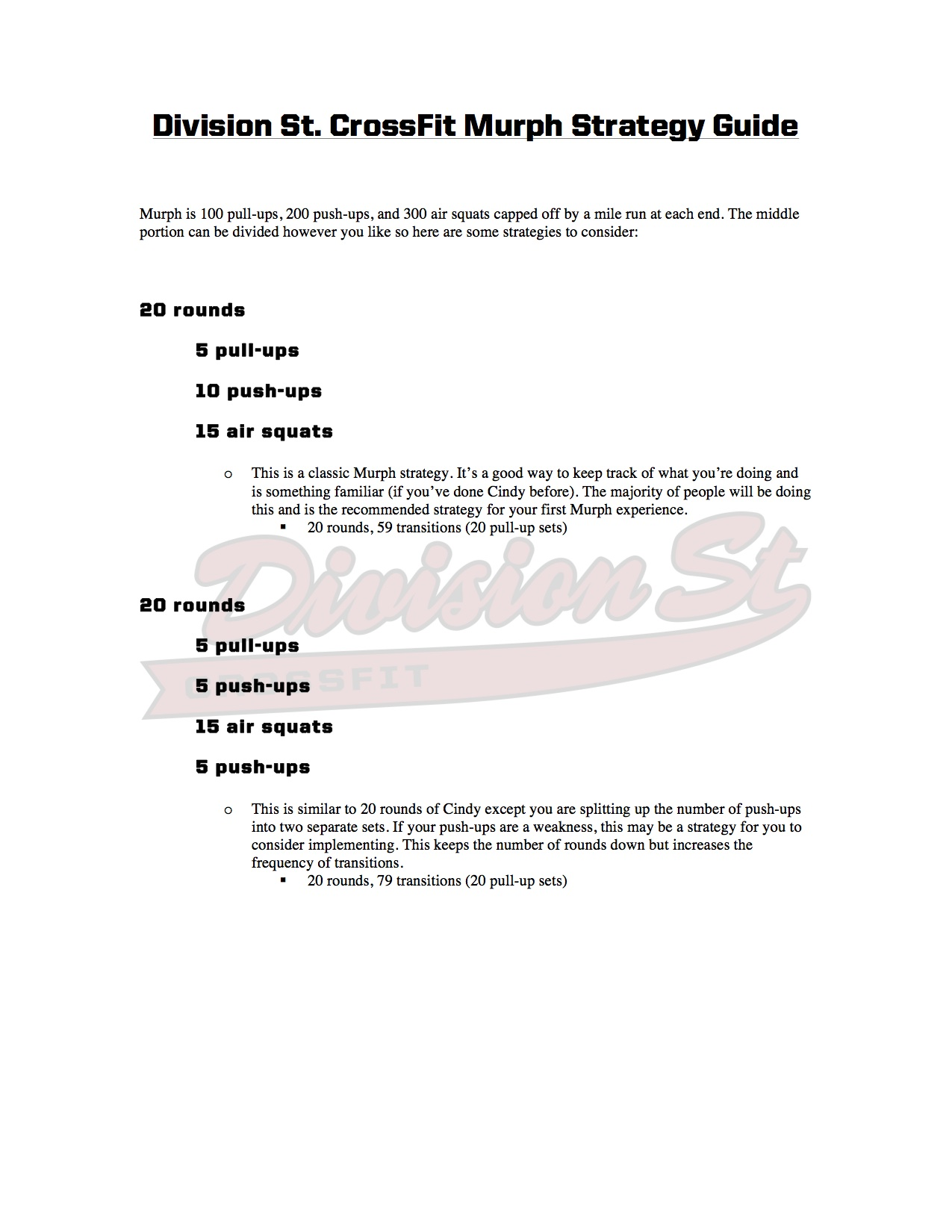 Division St. CrossFit Murph Strategy Guide (page 1)